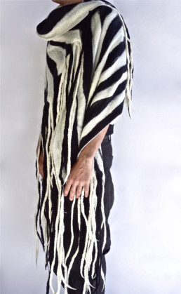 Ohara Black + White Striped Shawl Mid Grey Ohara Shawl Taiana Design Felted Merino Wool Dreadlocks textiles handmade women