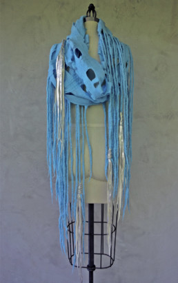 Theo Baby Blue w/Silver Leather Tassels Taiana Design Felted Merino Wool Dreadlocks textiles handmade women