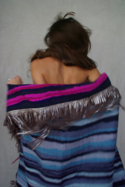 Bastel Blanket Pink + Blue Reversible w/ Silver Leather Frindge Taiana Design Felted Merino Wool Dreadlocks textiles handmade women