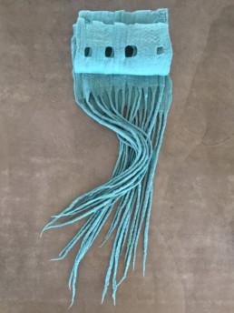 Taiana Design Felted Theo Turquoise Scarf Merino Wool Dreadlocks textiles handmade women