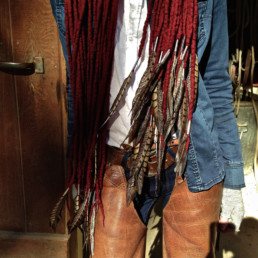 TheoTaiana Design Felted Merino Wool Dreadlocks textiles handmade women Blood Red w/Pheasant Feathers