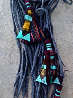 Horizon With African Tassels Taiana Design Felted Merino Wool Dreadlocks textiles handmade women Niger Women Coop