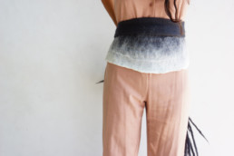 Taiana Design Capi Charcoal White Shading Giefer Merino wool felted dreadlocks fringe organic fashion
