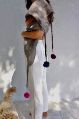 Mixed Light Brown w/ Pom Poms Taiana Design Felted Merino Wool Dreadlocks textiles handmade women
