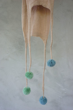 Capi Vanilla Scarf Blue Green Pompoms hand felted merino wool fine taiana design giefer