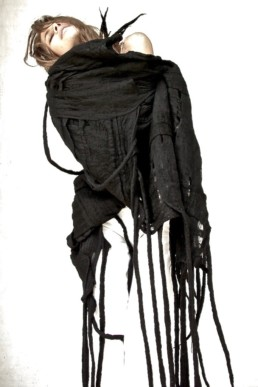 Black Blanket Taiana Design Felted Merino Wool Dreadlocks textiles handmade women