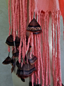 Salmon w/Turkey Feathers Wool Merino Pink Tassels Wild Accessory Taiana Giefer Design