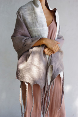 Mid Grey + White Blanket Taiana Design Felted Merino Wool Dreadlocks textiles handmade women