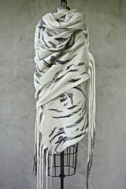 Bastel White Snow Tiger Taiana Design Felted Merino Wool Dreadlocks textiles handmade women
