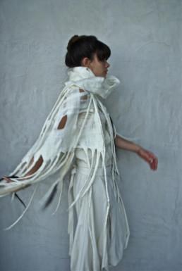 Ohara White Shawl w/Horsehair Taiana Design Felted Wool Merino Dreadlocks textiles