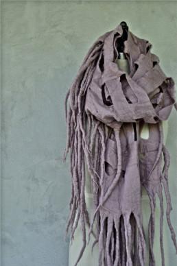 Ohara Fawn Shawl Taiana Design Felted Merino Wool Dreadlocks textiles handmade women