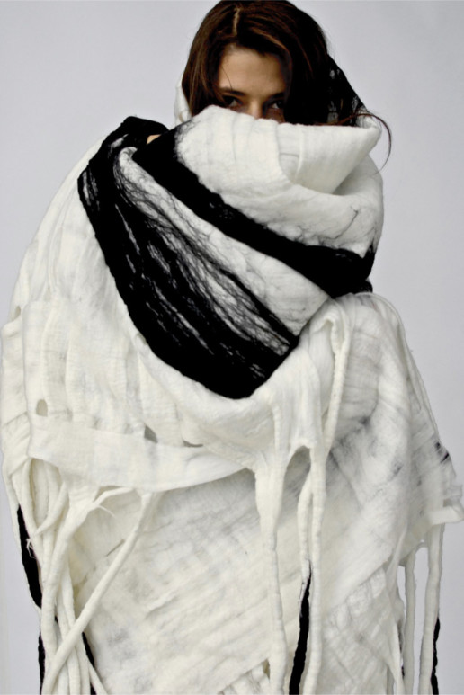 Bastel White Blanket w/Black Rings + Tips Taiana Design Textile Merino wool felted dreadlocks fringe