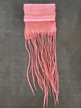 Salmon Pink Capi Taiana Design Felted Merino Wool Dreadlocks textiles handmade women