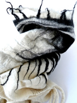 Ohara White w/ Black Sun Rings Taiana Design Felted Merino Wool Dreadlocks textiles handmade women