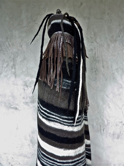 Bastel Taiana Design Felted Merino Wool Dreadlocks textiles handmade women Blanket Grey Black White Striped w/Leather Fringe