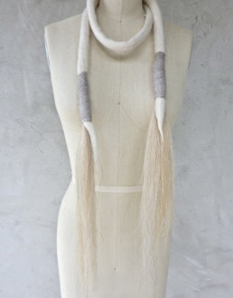 Oli Neck Wrap White w/White Horsehair + Leather Taiana Design Textile Merino wool felted dreadlocks fringe