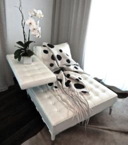 Ohara White Blanket w/Black Polka Dots Ohara White shawl felted merino wool