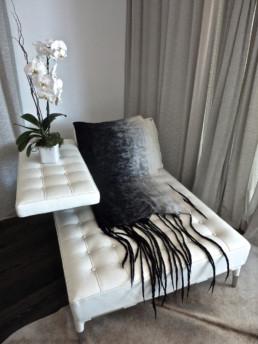 Bastel Blanket Black w/White Shading Taiana Design Felted Merino Wool Dreadlocks textiles handmade women