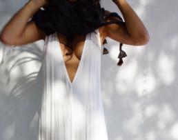 Taiana Design Felted Merino Wool Dreadlocks textiles handmade women Black w/ feathers