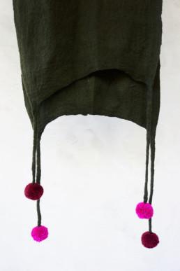 Ohara olive green shawl pompoms superfine merino wool hand felted accessories shawl scarf