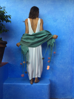 Shawl felted merino wool handmade turquoise taiana giefer design womens wild accessories